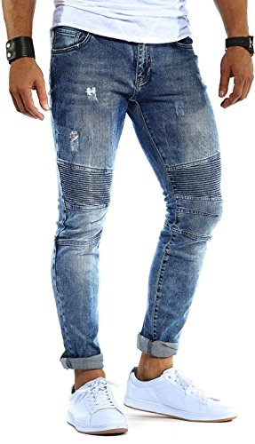LEIF NELSON Herren Hose Jeans Stretch Jeanshose Freizeithose Denim Slim Fit LN9930BL; W31L32, Blau