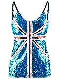 Anna-Kaci Womens Union Jack Flag Sequin Slim Adjustable Spaghetti Strap Tank Top, Blue, Medium