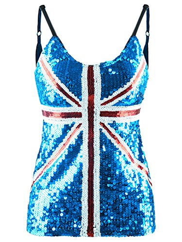 Def Leppard Union Jack - Anna-Kaci Womens United Kingdom Great Britain British Union Jack Flag Sequin Tank Top, Blue, Medium