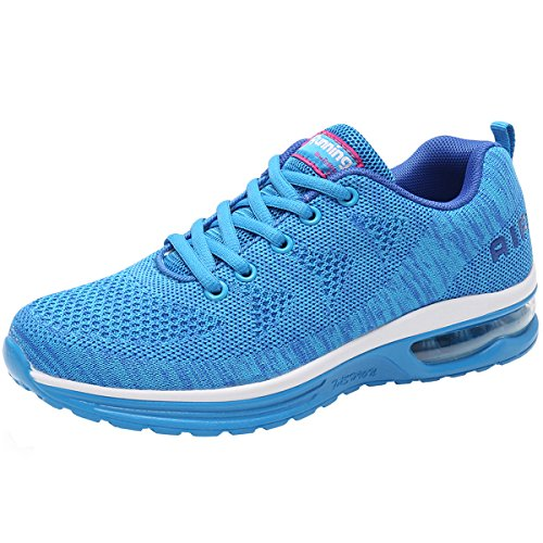 JARLIF Women's Lightweight Athletic Running Shoes Breathable Sport Air Fitness Gym Jogging Sneakers US5.5-10 (8.5 B(M), SkyBlue)