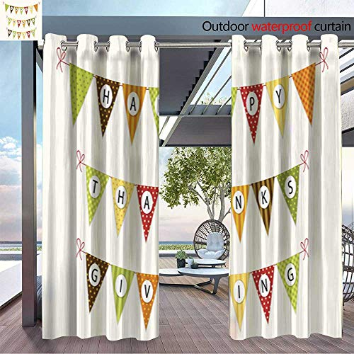 BlountDecor Outdoor Privacy Curtain for Pergola Cute Thanksgiving Bunting Flags with Letters in Traditional colors3 Thermal Insulated Water Repellent Drape for Balcony W96 x ()