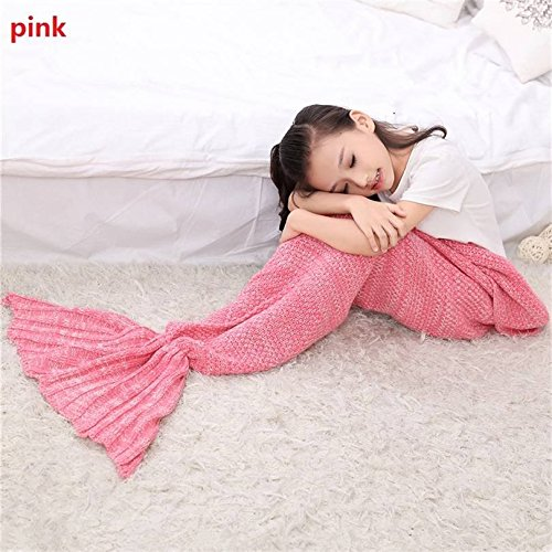 BFY Sleeping Mermaid Tail Knitted Acrylic Kids Blanket Crochet by BFY (Image #3)