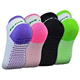 4 Pairs Anti-slip Yoga Socks, Marrywindix Silicone Dot Cotton Non Slip Winter for Women girls