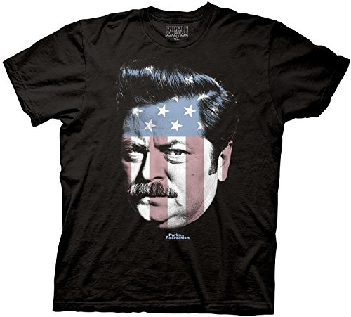 HT Parks and Rec Ron Swanson Stars Stripes Mens T-Shirt