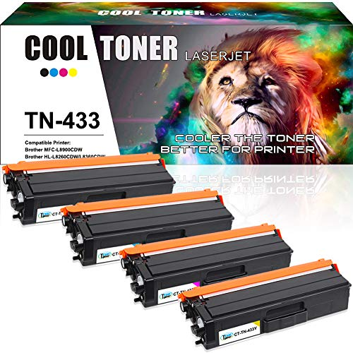 Cool Toner Compatible Toner Cartridge Replacement for Brother TN433 TN-433 for HL-L8360CDW MFC-L8900CDW HL-L8360CDWT HL-L8260CDW MFCL8610CDW MFCL9570CDW Color Laser All-in-One TN433 TN431 Printer-4PK ()