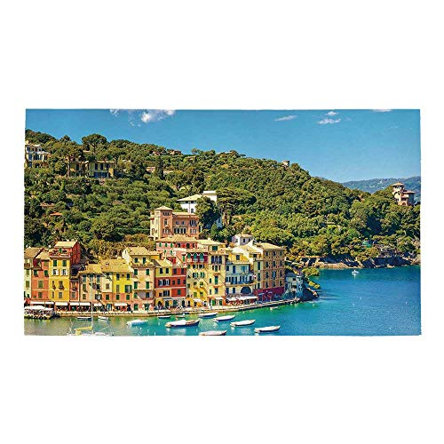 C COABALLA Italy Rectangular Bath Rug,Portofino Landmark Aerial Panoramic View Village and Yacht Little Bay Harbor Decorative for Bathroom,32