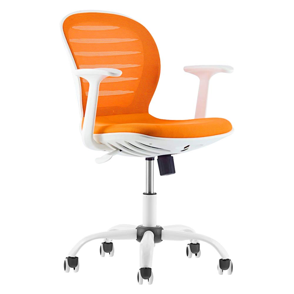 Office Chair Ergonomic Adjustable Mid Back Mesh Swivel Computer Desk Chair with Armrest, Orange