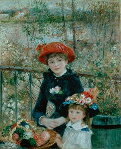 High Quality Polyster Canvas ,the Best Price Art Decorative Canvas Prints Of Oil Painting 'The Two Sisters On The Terrace,1881 By Pierre-Auguste Renoir', 24x30 Inch / 61x75 Cm Is Best For Bedroom Artwork And Home Gallery Art And Gifts (Renoir The Auguste Terrace Pierre On)