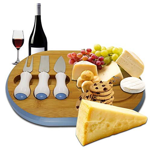 Bamboo Cheese Board with Cutlery Set | Modern Fancy Design | Serving Tray | Cheese Cutting Platter | Charcuterie Platter | Serve Wine, Crackers, Brie and Meat | Unique housewarming Gift