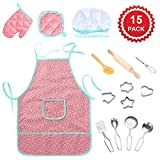 Waterproof Apron & Chef Set for Kids (15 PCS), Lumiparty Cooking Play Set with Girls Apron, Chef Hat, Cookie Cutters and Cooking Utensils, Play Kitchen Role-Play Toy, Baking Set Gift for Kids