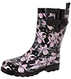 Capelli New York Ladies Shiny Edgy Floral Printed Mid-Calf Rain Boot Black Combo 9