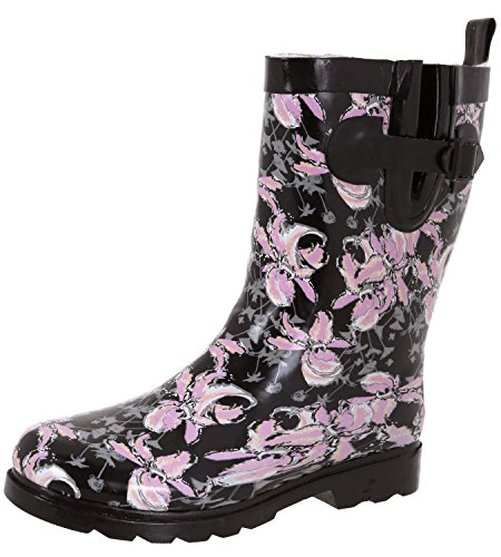 Capelli New York Ladies Shiny Edgy Floral Printed Mid-Calf Rain Boot Black Combo 6 by Capelli New York