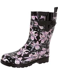 Ladies Shiny Umbrella Mid-Calf Rain Boot