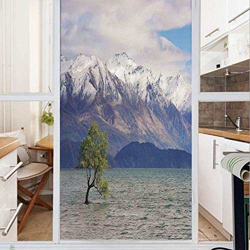 Decorative Window Film,No Glue Frosted Privacy Film,Stained Glass Door Film,Wanaka Lake in The Winter with Snowy Mountain Sunken Tree Pastoral Landscape,for Home & Office,23.6In. by 47.2In Pearl Dust