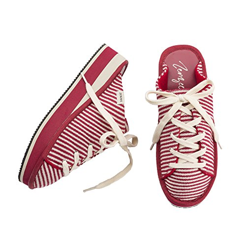 Zenzee Red Stripe Prepster-Comfy Platform Slip On Sneaker -Fun Knit Fashion-Perfect for Indoor/Outdoor Wear