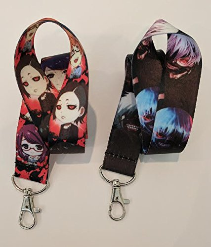 2-PC-Tokyo-Ghoul-Anime-Lanyard-Key-Chain-Neck-Strap-ID-Badge-Holder