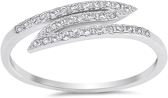 CloseoutWarehouse Clear Channel Set Cubic Zirconia Eternity Ring Sterling Silver