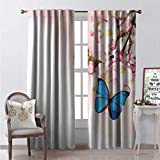 Hengshu Modern Window Curtain Fabric Blue Butterfly on Spring Cherry Blossoms Japanese Flower White Pink Orchard Nature Drapes for Living Room W120 x L108 Blue Pastel Pink