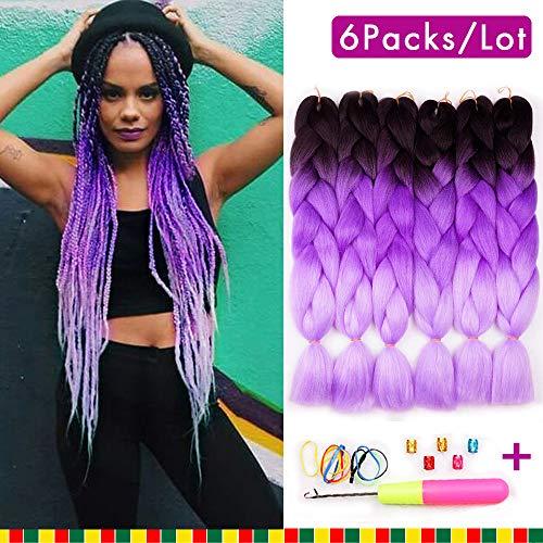 6 Pcs Ombre Braiding Hair Synthetic Hair Crochet Braids Kanekalon Fiber 100g Ombre Color Jumbo Braids 24inch Hair Extensions 3 Tones(Black to Purple to Light Purple)