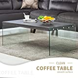 Black Wood Coffee Table with Glass Top Mecor Coffee Table Wood Top Tempered Glass Legs Contemporary Living Room Furniture Rectangle Glossy Finish Black Walnut