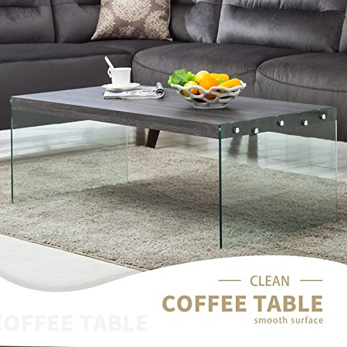 Mecor Coffee Table Wood Top Tempered Glass Legs Contemporary Living Room Furniture Rectangle Glossy Finish Black Walnut - Glass Legs