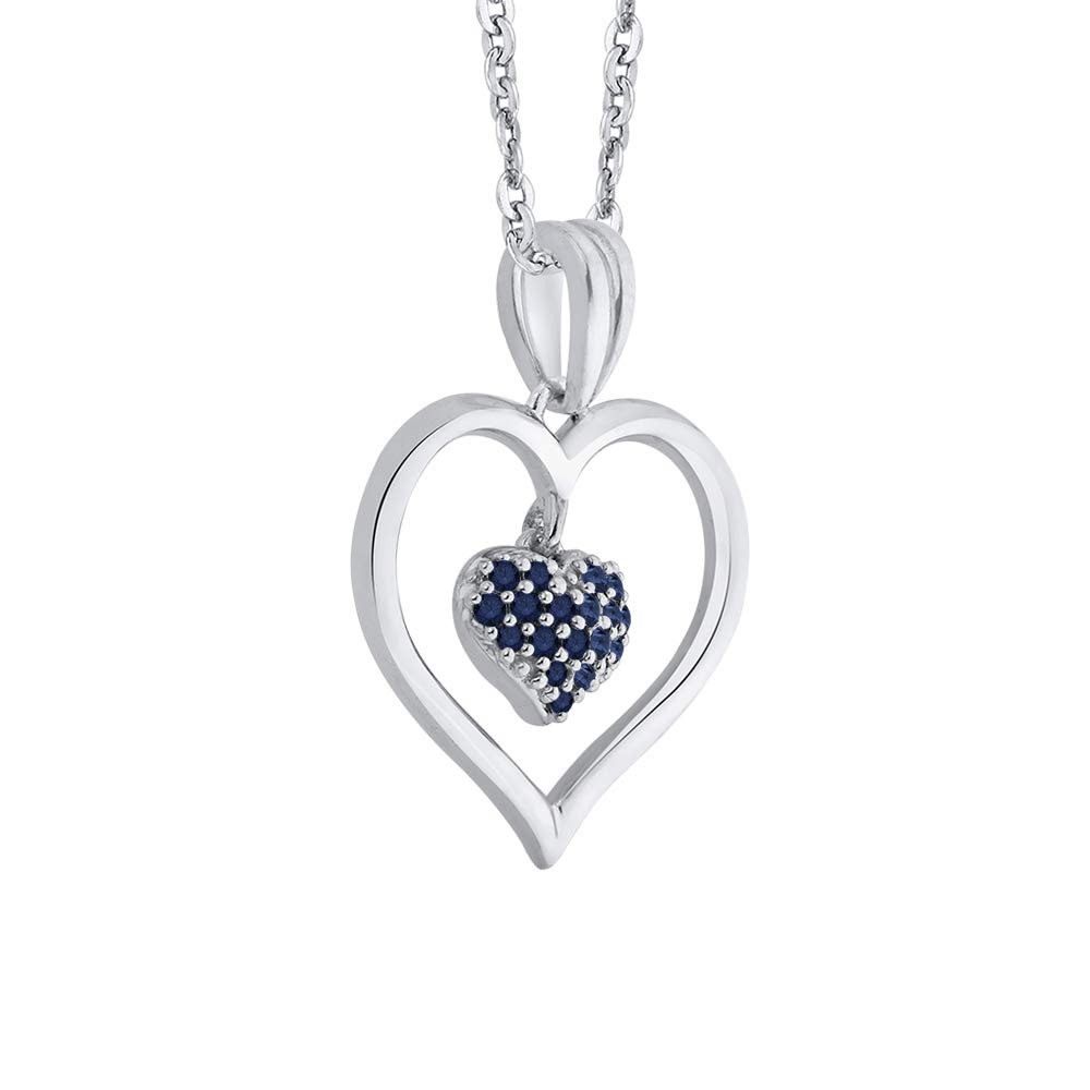 1//4 cttw KATARINA Gemstone Interlinked Dangling Heart Pendant Necklace in Sterling Silver