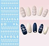 1 Sheets White Xmas Reindeer Knits Snowflakes Snow Nail Art Stickers Water Transfer Nails Wrap Paint Tattoos Stamper Plates Templates Tools Tips Kits Great Popular Christmas Winter Holidays Kit