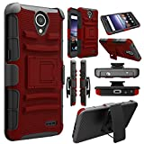 Elegant Choise Compatible with ZTE Prestige 2 Case, ZTE N9136 Case, Hybrid [Heavy Duty] Armor Shockproof Holster Kickstand Protective Case Cover with Swivel Belt Clip (Red/Black)