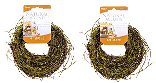 Set of TWO Vine Green Grapevine Twig Garland - 6 ft Each (12 ft total) - For Spring or Fall Crafts, Wedding Floral Displays, Home Décor Projects and More! - Cut to the Size you Want- Bundle of 2-Items