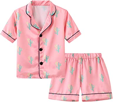 Shorts Outfits Boys Girls Sleepwear Cloth Unisex Kids Pajamas Clasic Silk Tops