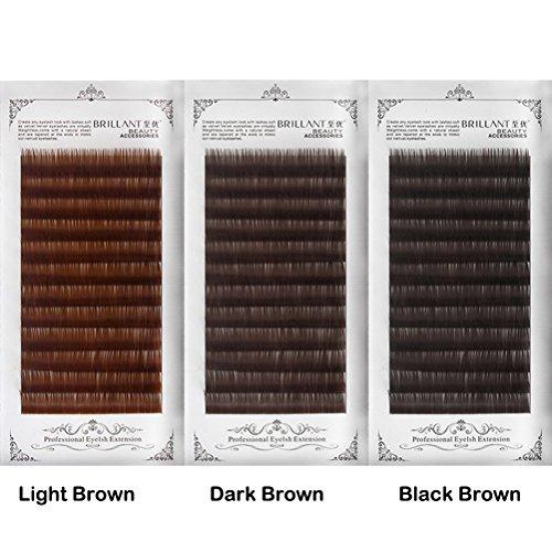 (Scala Thickness 0.10mm C Curl Light Brown/Dark Brown/Black-Brown False lashes Individual Eyelash Extension Natural False Eyelashes (11mm, Black)
