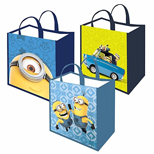 Unisex-Adult Minions Reusable Shopping Tote Or Halloween Trick Or Treat Bag - Set Of 3 High Five, Car, Close Up (Halloween Stores Close To Me)