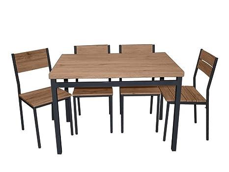 Vetrineinrete® Set Tavolo con 4 sedie in Legno 100 x 70 x 75 cm Base ...