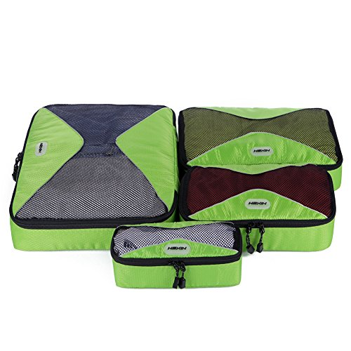 4 Set Packing Cubes Travel Luggage Packing Organizers For Luggage Travel Outdoor Green