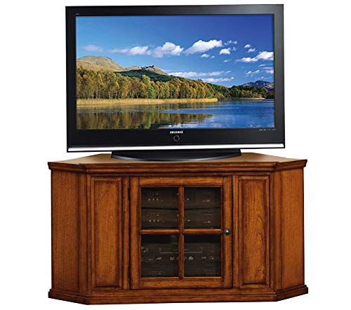 - Deluxe Premium Collection Holliday Corner TV Stand 46-Inch Burnished Wood Oak Decor Comfy Living Furniture