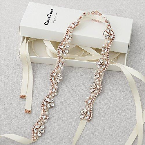Rose gold Crystal Applique Bridal Wedding Dress sash Party Gowns belt thin beaded belt ivory (Wedding Gown Belt)