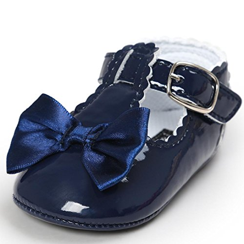 Lanhui Baby Bowknot Princess Anti-slip Soft Sole Shoes Toddler Sneakers Casual (Navy, 6-12Months)