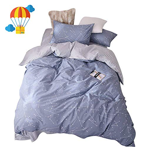 BuLuTu Space Constellation Kids Bedding Duvet Cover Set Full Blue for Boys Girls, Reversible Premium Cotton Hotel Striped Bedroom Bedding Sets Queen Comforter Cover Zipper Closure,NO Filling