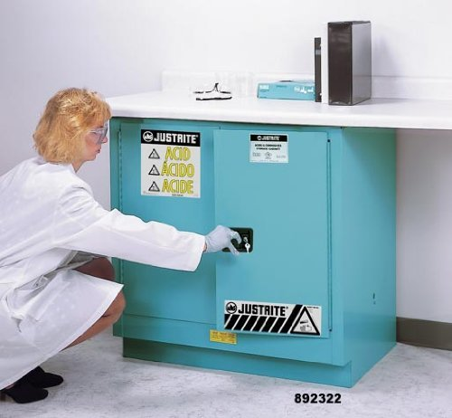 Justrite 892322 Sure-Grip EX Steel 2 Door Self Close Undercounter Safety Cabinet, 22 Gallon Capacity, 35