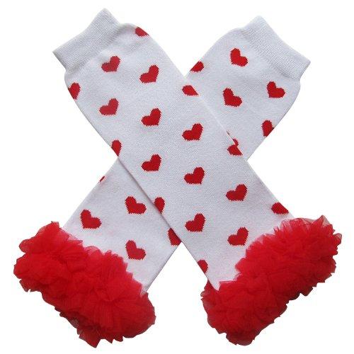 Chiffon Ruffle Tutu Valentine's Day Heart Style Leg Warmers, Baby,