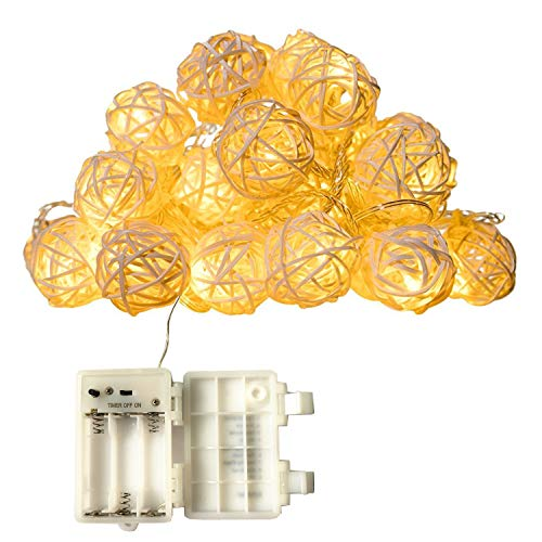16.5ft 30 White Rattan Ball String Lights,Battery Operated,30 Warm White Led Wedding Indoor Decoration Fairy Lights with Timer 8 Mode Idear for Bedroom Showcase Vanity Mirror Window Swing Sun Umbrella by DealBeta