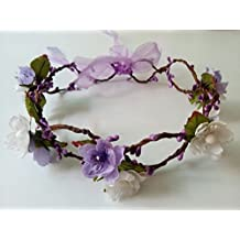 Artificial Silk Cherry Blossom Mini Paper Flowers Fairy Flower Girl Halo Woodland Headpiece Wedding Rattan Headband Adjustable Floral Crown Bridal Headwear Purple and White Hair Accessories (Purple#72)
