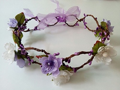 Artificial Silk Cherry Blossom Mini Paper Flowers Fairy Flower Girl Halo Woodland Headpiece Wedding Rattan Headband Adjustable Floral Crown Bridal Headwear Purple and White Hair Accessories (Purple#72) EZFDYJZZ DFW1072