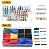 120PCS Solder Seal Wire Connectors, Aufisi Heat Shrink Butt Connectors Electrical Butt Connectors Solder Waterproof Insulated Marine Automotive Copper with Case Include 280PCS Heat Shrink Tube 2:1
