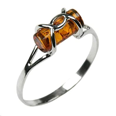 Multicolor Amber Sterling Silver B Ring, Sizes J, L, N, P, Q, S, T, V