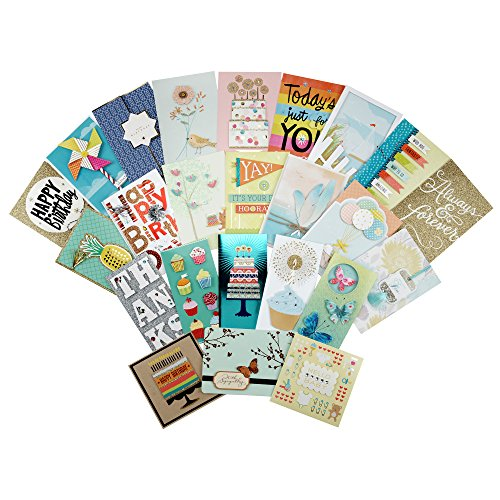 Hallmark All Occasion Handmade Boxed Assorted Greeting Cards Set (Pack of 24) - Birthday, Baby, Wedding, Anniversary, Sympathy, Congrats, Thinking of You, Thanks, Blank Assortment + Card Organizer Box Boxed Assortment