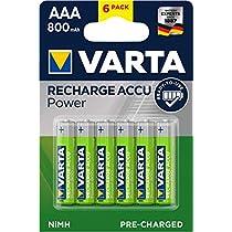 Risparmia su Varta Batteria Ricaricabile AAA MiniStilo, 800 mAh, Confezione da 6 Pezzi, Pre-caricate, Pronte all'Uso e molto altro