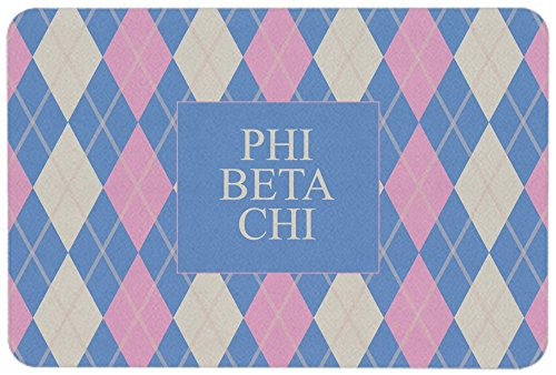 "Greek U Phi Beta Chi Argyle Pattern Pink Blue Lines 24"" x 36"" Non Slip Floormat/Doormat"