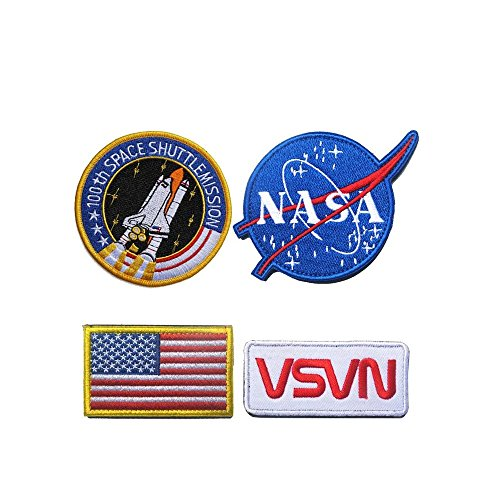Space Shuttle NASA Blue Logo USA Flag NASA White-Red Vector Patch for Jacket Hat DIY Embroidered Halloween Costume Badge Patch Set of -