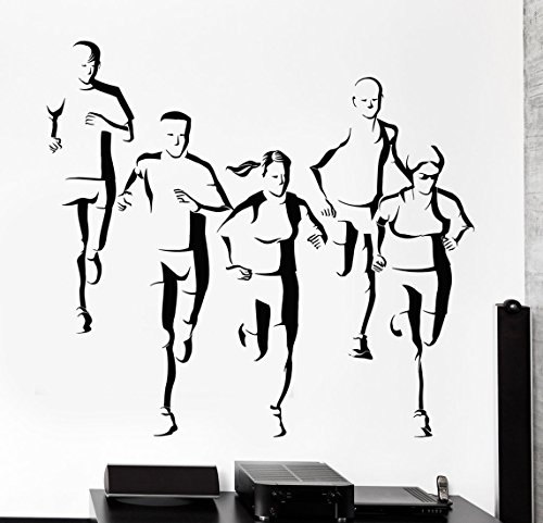 BorisMotley Wall Decal Marathon Runners Jogging Sports Vinyl Removable Mural Art Decoration Stickers for Home Bedroom Nursery Living Room (Marathon Color Chart)